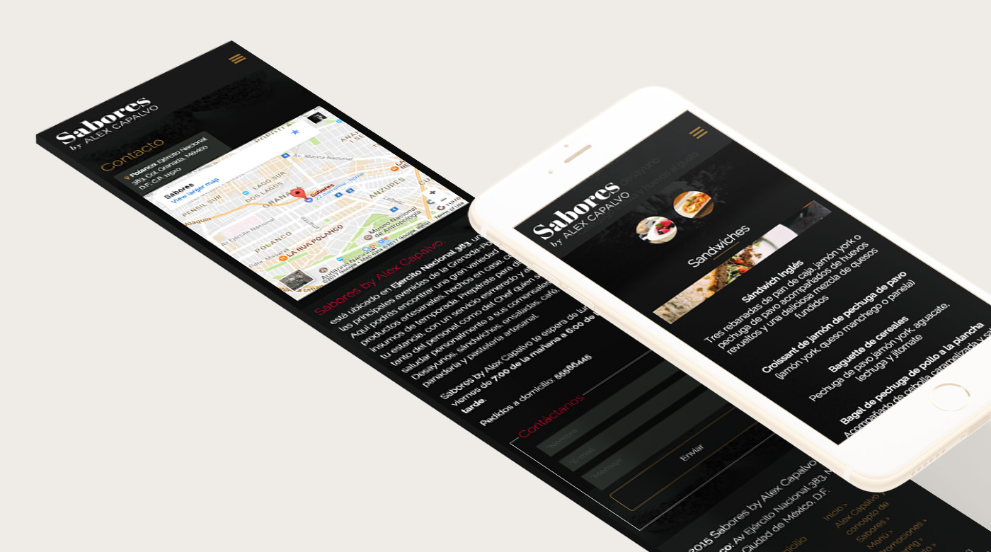Sabores mobile site screens